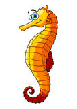 Yellow underwater seahorse cartoon character Stock Photo