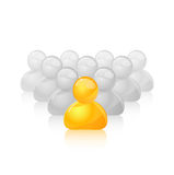Yellow Unique Person Icon Out of the Grey Crowd Royalty Free Stock Photo