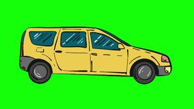 Yellow universal car moving animation isolated on green screen, looped comic cartoon animation