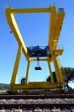 Yellow unloading platform. Loading, unloading  on the yellow unloading platform Stock Photography