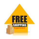 Yellow up arrow with text free shipping and delivery box package Royalty Free Stock Photo