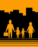Yellow urban background with family Stock Image