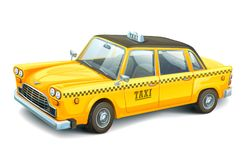 Yellow urban taxi cab  on white background. High detailed vector car. Taxi service. City transport. Stock Photography
