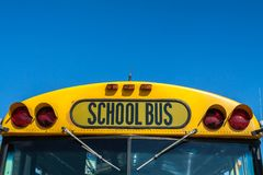 US schoolbus front stock photography
