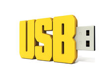 Yellow usb flash memory made of word - usb. 3d usb memory stick mad of word usb - render Stock Photo