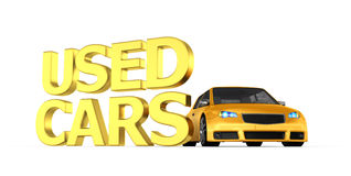Yellow used car - 3d render Royalty Free Stock Photo