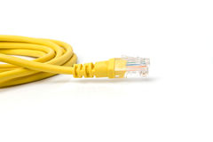 Yellow UTP LAN cable on white background Royalty Free Stock Images