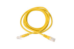 Yellow UTP LAN cable on white background. Close up yellow UTP LAN cable on white background Royalty Free Stock Photography