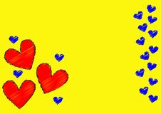 Yellow valentine card royalty free stock image