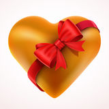 Yellow Valentine Heart gift with Bow and tape. Stock Photography