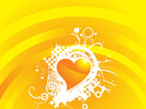 Yellow valentines heart-shape with grunge Royalty Free Stock Image