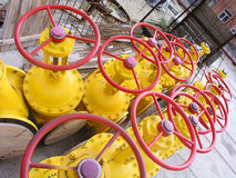 Yellow valves 2. A lot of yellow outdoor valves 2 Stock Photo