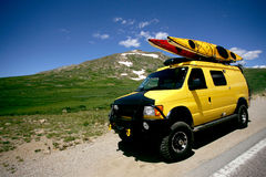 Yellow Van. On Continental divide Road in high Rockies, Colorado Royalty Free Stock Photo