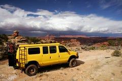 Yellow Van. Yellow 4x4 van in Needle National Park, Utah Royalty Free Stock Photography