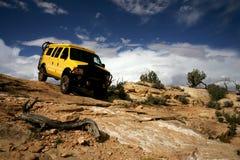 Yellow Van. Yellow 4x4 van in Needle National Park, Utah Stock Photos