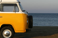 Yellow van. A seascape with a yellow old fashioned van Royalty Free Stock Photo