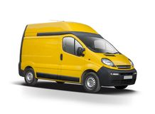 Yellow van isolated on white Royalty Free Stock Images