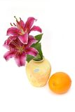 Yellow vase and orange. Beautiful flowers in a yellow vase and orange on a white background Royalty Free Stock Photo