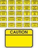 Yellow vector caution signs. On white background Stock Photo