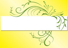 Yellow vector frame with green flora Stock Photos