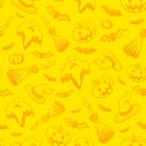 Yellow vector Halloween seamless pattern Royalty Free Stock Photo