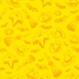 Yellow vector Halloween seamless pattern Royalty Free Stock Photo