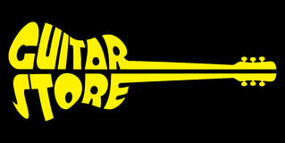 Yellow Vector logo template on black background for guitar shop Stock Image