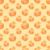 Yellow vector magic potions seamless pattern Royalty Free Stock Photos