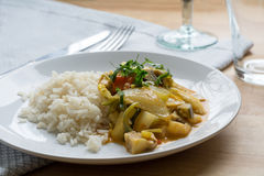 Yellow vegetable curry with rice on a white plate Royalty Free Stock Images