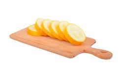 Yellow vegetable marrow (zucchini). Isolated on white background Stock Photos