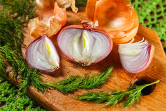 Yellow vegetable onion cut in half with herbs. Yellow fresh onion cut in half near basket Royalty Free Stock Images