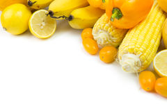 Yellow vegetables and fruits Stock Images