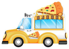 A yellow vehicle selling pizza Royalty Free Stock Images