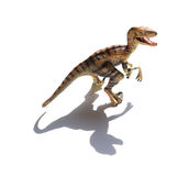 Yellow velociraptor toy. On a white background with shadow Stock Photo