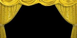 Yellow velvet curtain on black background. 3D illustration stock photo