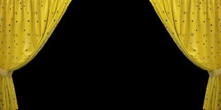 Yellow velvet curtain open to the sides, on a black background. 3D illustration stock image
