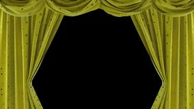 Yellow velvet curtains with shiny stars. ULR stock video footage