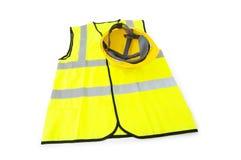 Yellow vest and hardhat isolated. Yellow vest  and hardhat isolated on the white Stock Photos