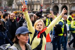 Yellow Vests. ActeXIX. Paris, France, March 23, 2019. Yellow Vest protests stands in Paris against French President Emmanuel Macron's economic policies in royalty free stock photos