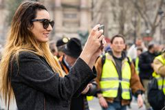Yellow Vests. ActeXIX. Paris, France, March 23, 2019. Yellow Vest protests stands in Paris against French President Emmanuel Macron's economic policies in royalty free stock image