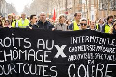 Yellow Vests. ActeXIX. Paris, France, March 23, 2019. Yellow Vest protests stands in Paris against French President Emmanuel Macron's economic policies in stock photography