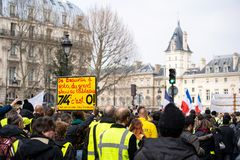 Yellow Vests. ActeXIX. Paris, France, March 23, 2019. Yellow Vest protests stands in Paris against French President Emmanuel Macron's economic policies in stock image