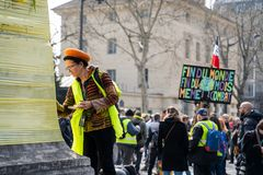 Yellow Vests. ActeXIX. Paris, France, March 23, 2019. Yellow Vest protests stands in Paris against French President Emmanuel Macron's economic policies in stock photo
