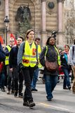 Yellow Vests. ActeXIX. Paris, France, March 23, 2019. Yellow Vest protests stands in Paris against French President Emmanuel Macron's economic policies in royalty free stock images