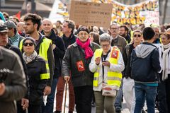 Yellow Vests. ActeXIX. Paris, France, March 23, 2019. Yellow Vest protests stands in Paris against French President Emmanuel Macron's economic policies in stock photos