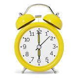 Yellow Vintage Alarm Clock. Front View. Yellow vintage style alarm clock isolated on white background. Front view. 3D illustration royalty free illustration