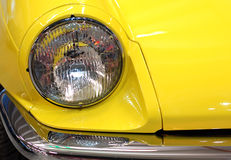 Yellow vintage car detail Royalty Free Stock Image