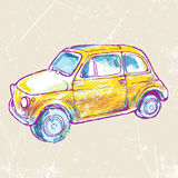 Yellow vintage car on a grungy background.vector illustration Stock Photo