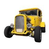 Yellow vintage car. On white background Stock Photo
