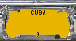 Yellow vintage numberplate, Cuba Stock Image